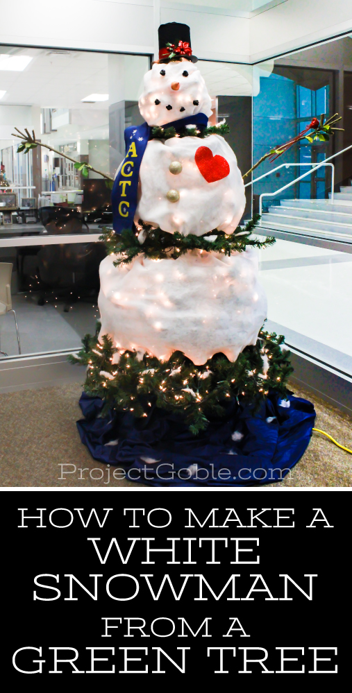 How to create a white snowman from a green tree
