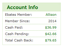 Account Info for Allison's Ebates