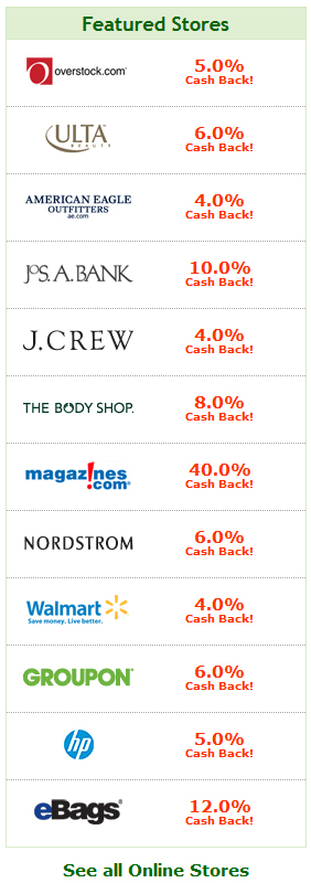 List of Ebates Stores and current Percentages of Money Back