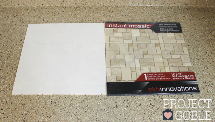 stone instant mosaic wall tile that we just happened to find at lowe