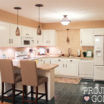 Kitchen Transformation: White Cabinets & Painted Counters with White Appliances