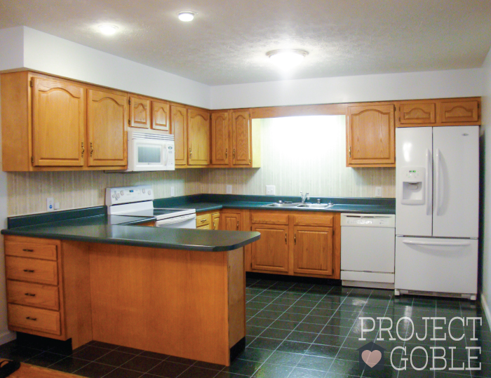 BEFORE Kitchen Transformation: White Cabinets & Painted Counters with White Appliances