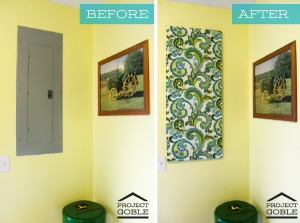 Breaker Box Cover - How to create a Fabric Wall Art to cover your ugly breaker box - www.ProjectGoble.com