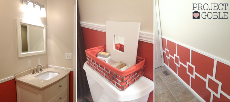 Orange, White, Brown, & Chrome Guest Bathroom - ProjectGoble.com