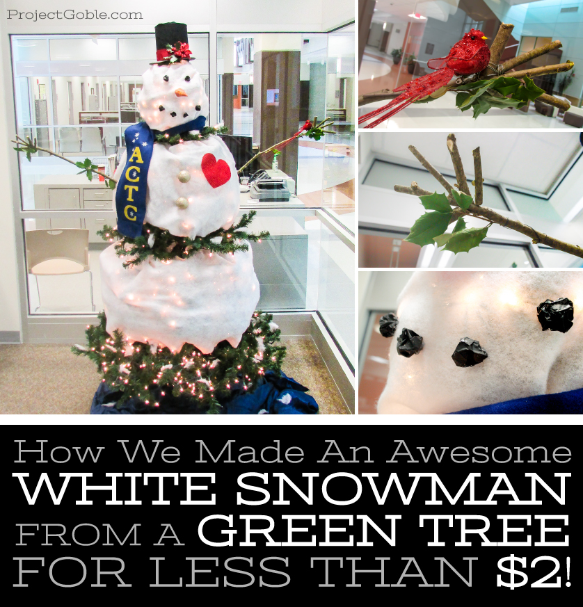 How to Create a White Snowman from a Green Tree (for less than $2)