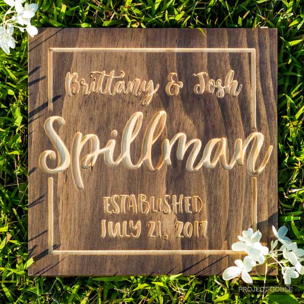 Sqare Wooden Sign with the couples first and last name engraved with the established date. Perfect for a wedding gift AND comes in multiple color options!