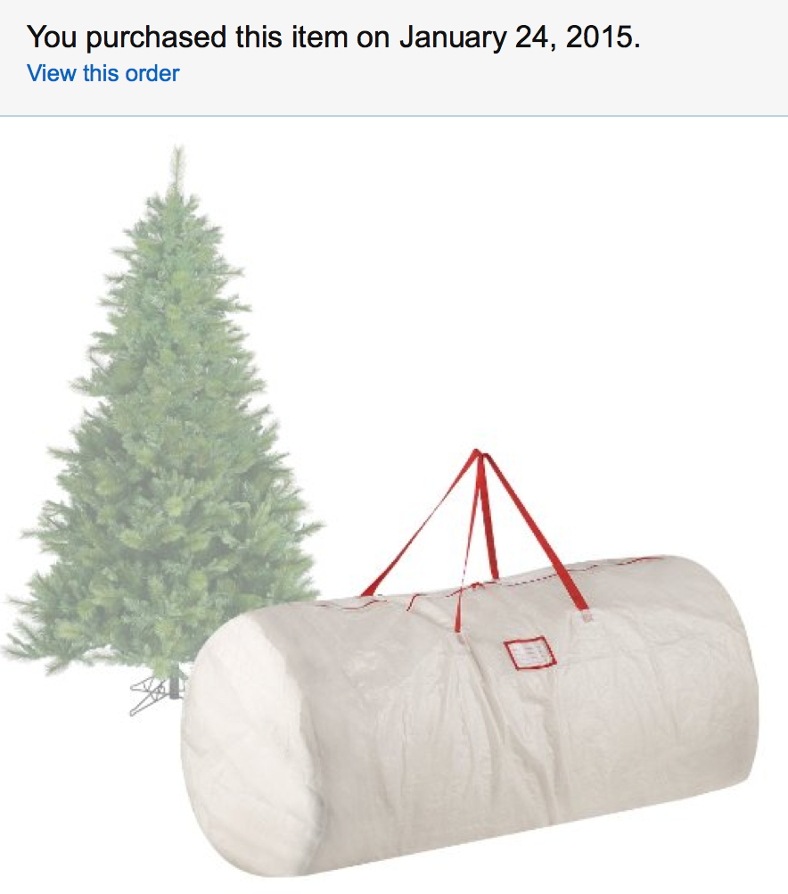 We bought this Christmas Tree Storage Bag so our tree would easily fit in our attic opening!