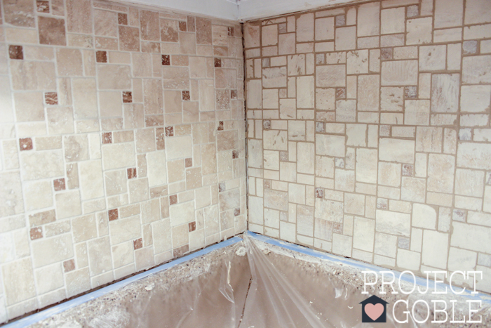 Before and After Grout - The Peel and Stick Instant Mosaic Tile Backsplash we used for our Kitchen.