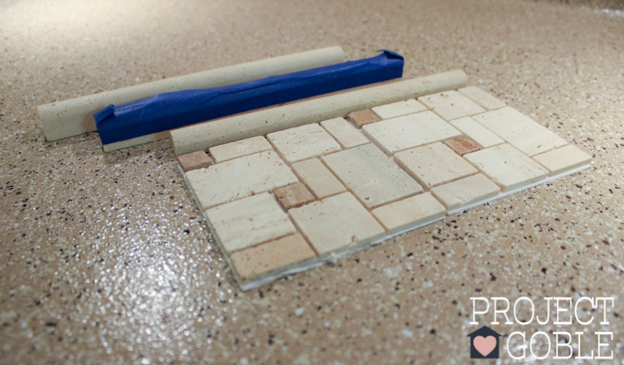 The Peel and Stick Instant Mosaic Tile Backsplash we used for our Kitchen.