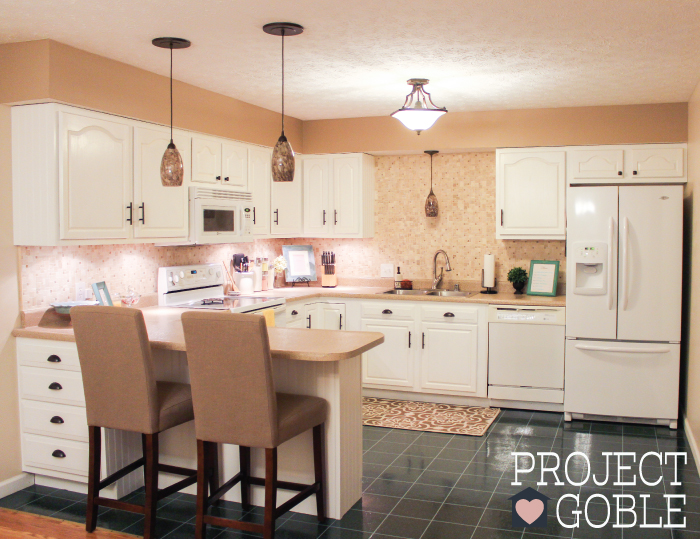 Kitchen Transformation White Cabinets Amp Painted Counters With White Appliances Project Goble
