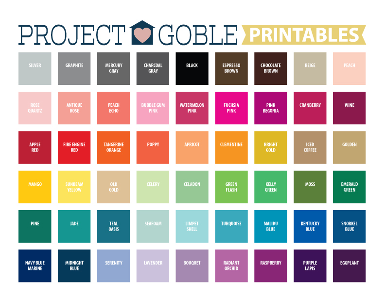 Color Swatches for Project Goble Printables