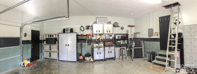Two Car Garage with Gladiator Gear Tracks and Cabinets with Green and Gray Paint with a Black Stripe - A man's dream garage! - ProjectGoble.com