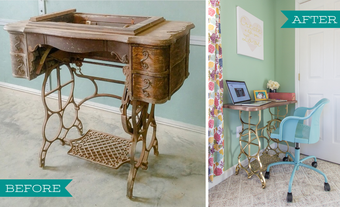 We discovered an old sewing machine at a local antique store.  Unfortunately, the original top and sewing machine were far too gone to be  salvaged, ... - How To Reuse The Base Of An Antique Sewing Machine To Create A Desk