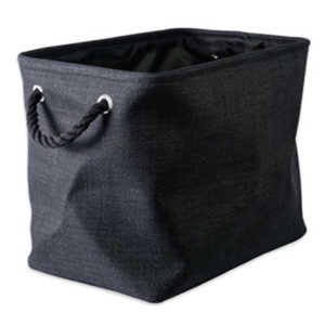 black collapsible polyester laundry basket