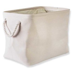 cream collapsible polyester laundry basket