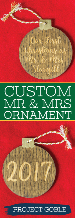 Our First Christmas as Mr. and Mrs. Wooden Ornament Personalized with Last Name and Wedding Date - Made by Project Goble