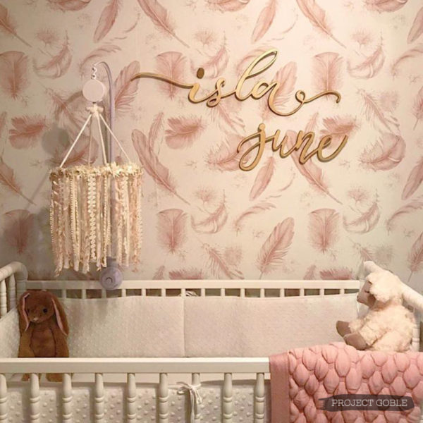 Gold Script Name Sign for a Baby Girl's Nursery