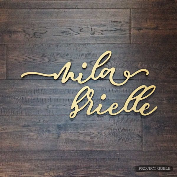 Cursive Girls Name Sign for Gold Baby Nursery
