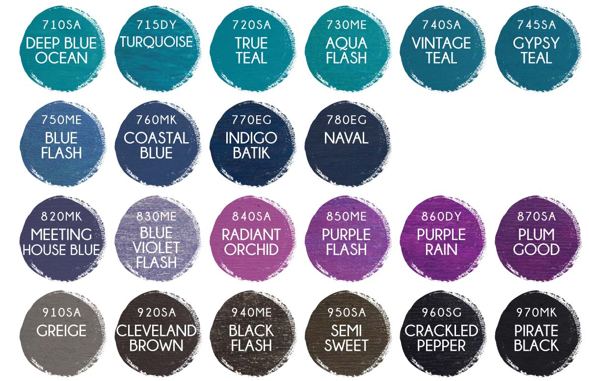 Wooden Sign Paint Color options for teal, blue, purple, brown, and black